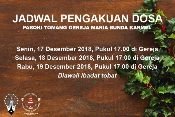 Jadwal Pengakuan Dosa Natal 2018