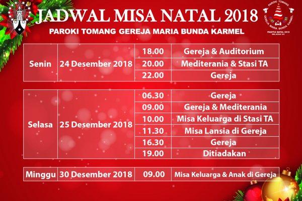 Jadwal Misa Natal 2018
