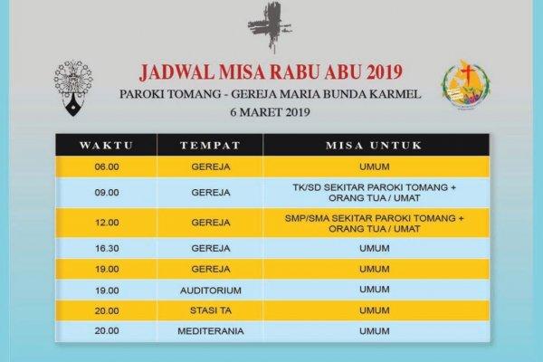 Jadwal Rabu Abu, 6 Maret 2019