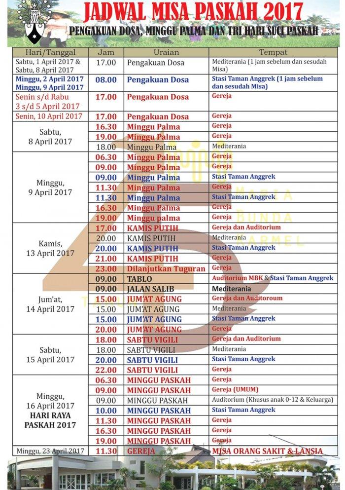 Jadwal Misa Paskah MBK 2017