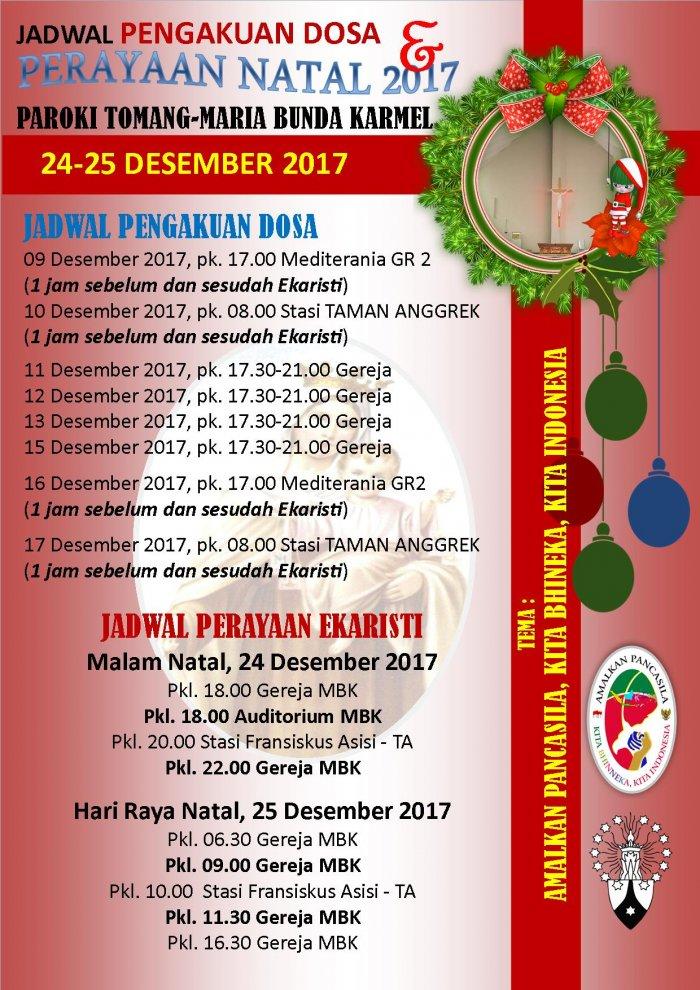 Jadwal Pengakuan Dosa dan Misa Natal 2017